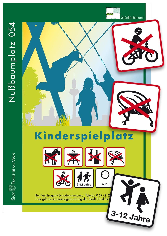 Spielplatzschilder Hinweisschild Frankfurt Rhein-Main Hessen Offenbach